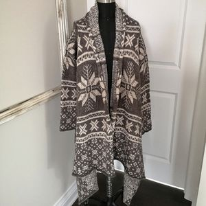 "Stunning ""Icelandic"" Waterfall Cardigan Sweater"